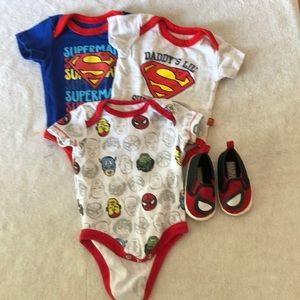3 really cute superhero onesies and shoes